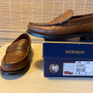Sebago classic loafer in golden brown leather